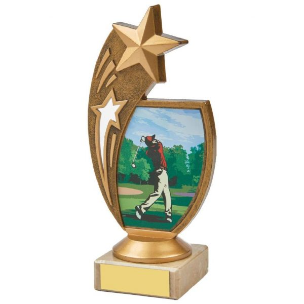 Star Golf Trophy 17cms. Constructed from a fine detailed old gold coloured plastic composite shooting star riser. Incorporating a male golfer teeing off image. Connected to a small old gold coloured plastic riser and cream marble base