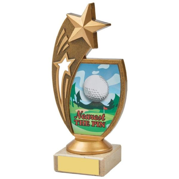 Star Nearest Pin 17cms. Constructed from a fine detailed old gold coloured plastic composite shooting star riser. Incorporating a golf ball image. Connected to a cream marble base.