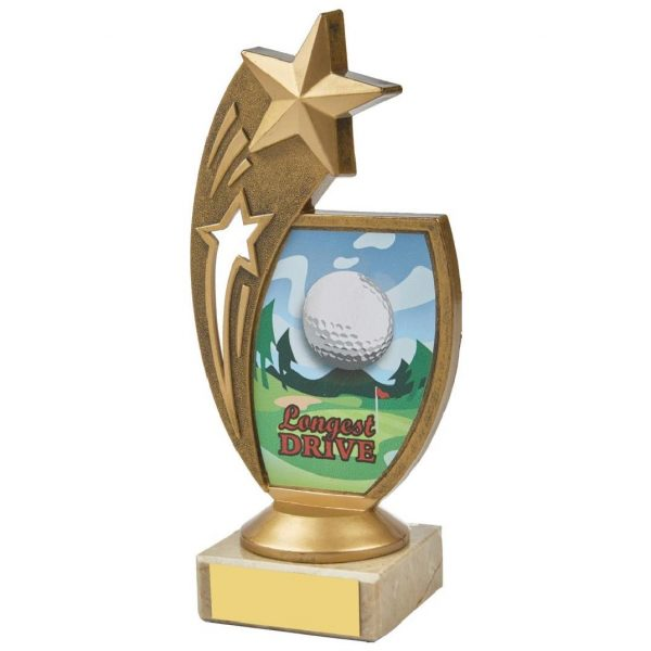 Star Longest drive. 17cms. Constructed from a fine detailed old gold coloured plastic composite shooting star riser. Incorporating a golf ball image. Connected to a cream marble base.