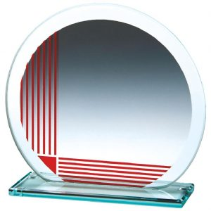 Corporate Glass Trophy 13cms. .4mm thick incorporating a series of printed red vertical and horizontal lines. Glass etched on the the glass
