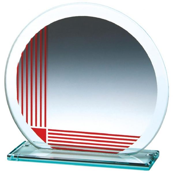 Corporate Glass Trophy 13cms. .4mm thick incorporating a series of printed red vertical and horizontal lines. Glass etchedon the the glass
