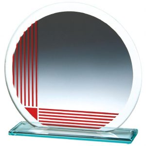 Corporate Glass Trophy 17cms. .4mm thick incorporating a series of printed red vertical and horizontal lines. Glass etched on the the glass