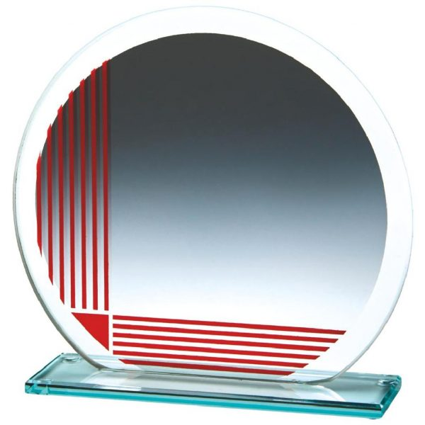 Corporate Glass Trophy 17cms. .4mm thick incorporating a series of printed red vertical and horizontal lines. Glass etchedon the the glass