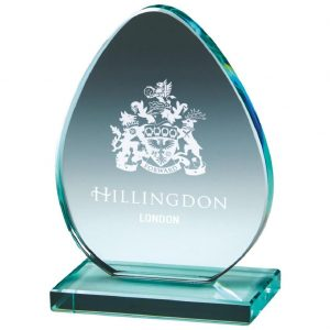 Egg Shape Glass Trophy 12cms. Egg Shaped jade glass 10mm thick and supplied with a white packing box.
