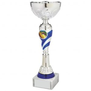 Clearance Line Sports Cup. hrome coloured metal bowl and a hard plastic gilt and blue stem and an integral area to add an activity centre