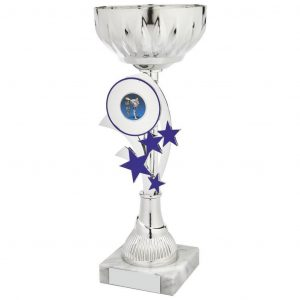 Low Priced Sporting Cup.a chrome coloured metal alloy bowl and hard plastic composite riser with blue stars. Including a space to accept an activity centre for most sports and pastime. All connected to a block of white marble. a chrome coloured metal alloy bowl and hard plastic composite riser with blue stars. Including a space to accept an activity centre for most sports and pastime. All connected to a block of white marble.