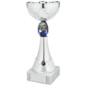 Bargain Multi Sport Cup. chrome coloured metal alloy bowl and hard plastic composite stem and red riser. Including a space to accept an activity centre. All connected to a block of white marble