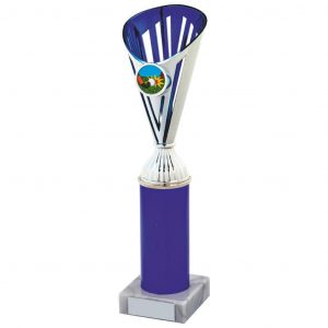 Bargain Fluted Blue Trophy. a chrome coloured plastic composite flute with integral area to add an activity centre. Hard plastic blue tube. Smallest size has no tubing