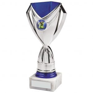 Low-Cost Sports Trophy. a chrome and blue coloured plastic composite riser with integral area to add an activity centre