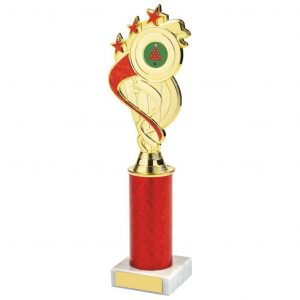 Holder Trophy Red Tube. a gilt and red coloured plastic composite holder with integral area to add an activity centre.
