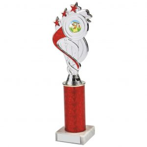 Red Tube Holder Trophy a chrome and red coloured plastic composite holder with integral area to add an activity centre. Incorporating a red coloured plastic tube