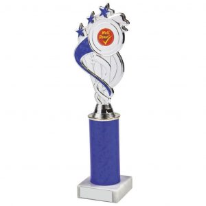 Blue Tube Holder Trophy a chrome and blue coloured plastic composite star holder with integral area to add an activity centre. Incorporating a blue coloured plastic tube