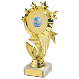 Multi Star Dancing Trophy 18cms a gold coloured hard plastic composite multi star holder. Also a choice of dance centres. All connected to a piece of white marble