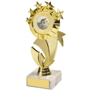 Multi Star Dancing Trophy 16.5cms a gold coloured hard plastic composite multi star holder. All connected to a piece of white marble