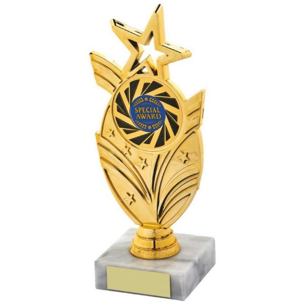 Dancing Star Trophy 19cms.a gold coloured hard plastic composite star holder. Also a choice of dance centres. All connected to a piece of white marble