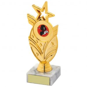 Dancing Star Trophy 16cms.a gold coloured hard plastic composite star holder. Also a choice of dance centres. All connected to a piece of white marble