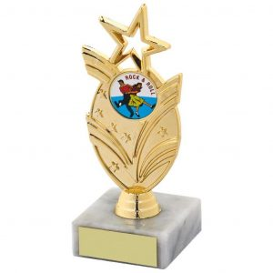 Dancing Star Trophy 13.5cms.a gold coloured hard plastic composite star holder. Also a choice of dance centres. All connected to a piece of white marble