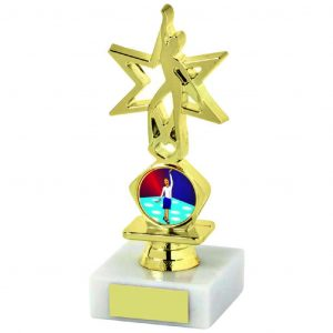 Star Dancing Trophy 13.5cms. a gold coloured hard plastic composite star figure. A medium riser bell. All connected to a piece of white marble
