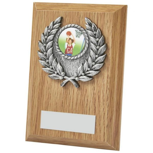 Clearance Line Netball Plaque. a gold and antique silver coloured netball activity centre holder and a large choice of centre