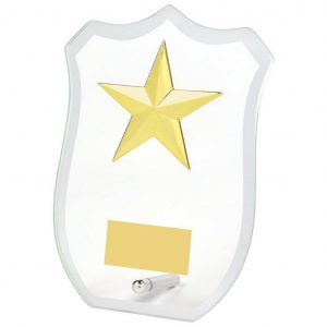 Star Glass Trophy Shield shaped bevelled edge glass trophy incorporating a gold coloured star holder adhered to the glass.
