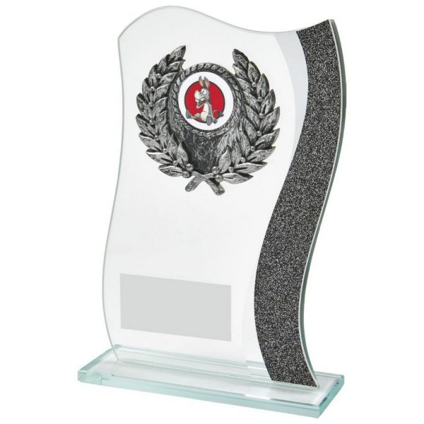 Bargain Glass Trophy 16.5cms. Curved shaped glass with a black strip running down one side. Incorporating a antique silver coloured wreath holder