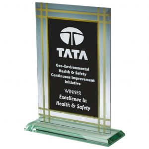 Value Jade Glass Trophy 19cms .. 4mm thickness presentation trophy glass etched from the rear. Cutting away the black coating into the glass