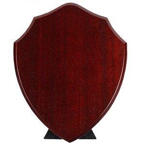 Replica Blank Shield. Dark cherry coloured finished traditional shape blank shield.