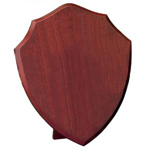 large Blank Annual Shield. A traditional shaped blank shield. Each shield is supplied with a wood style strut on the rear - Base material made from MDF with a dark cherry finish.