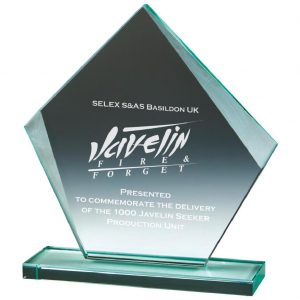 Business Glass Trophy 20cms. 10mm thick jade glass