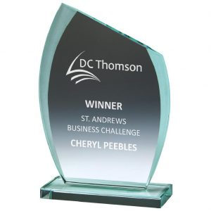 Challenge Trophy 20cms. Sliced edge shaped 10mm thick jade glass