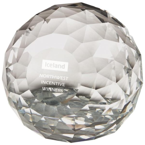 Clear Facet Round Paperweight