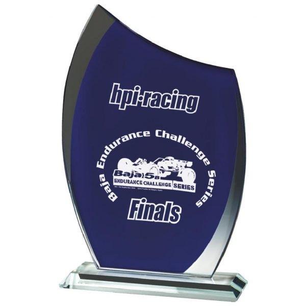Blue Glass Trophy 23.5cms