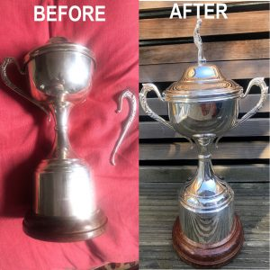 Silver Plated Cup Repair. Broken cups and handles, splits and dents all can be repairs using specialist silverware manufacturing processes including Metal Spinning