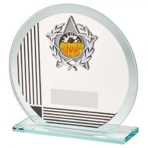 Glass Multi-Sports Trophy 13cms.. 5mm thick circular shaped glass trophy with a series of printed red coloured horizontal and vertical