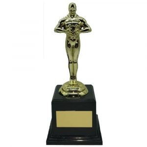 Oscar Look-a-like Trophy MED 19.5cms. Male achievement trophy on black pedestal base