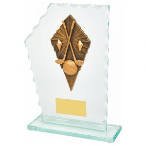 Golf Scalloped Trophy 20cms