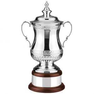 Looks-a-like FA Cup 48cms. Top quality silver plate with hand chasing along the lip and bowl of the cup. Lots of room for engraving