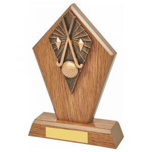 Wood Hockey Trophy 19cms