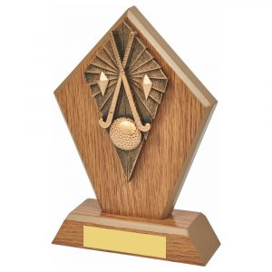 Wood Hockey Trophy 17cms