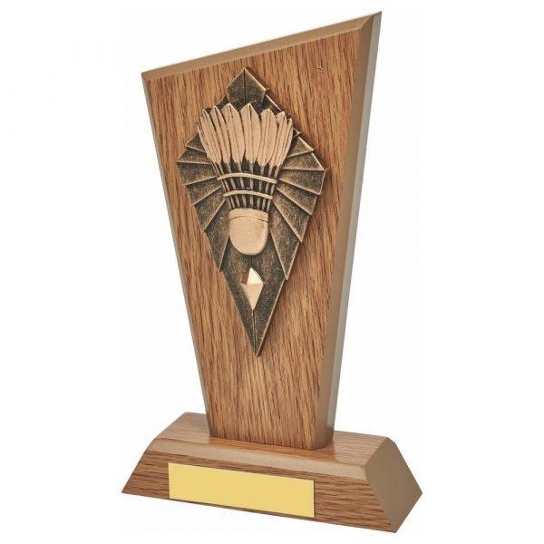 Wood Badminton Trophy 20cms